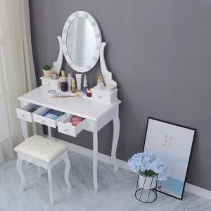 SEA520 - Set Masa alba toaleta, 80 cm, cosmetica machiaj oglinda cu LED, masuta vanity, scaunel20, taburet tapitat