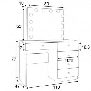 SEA533 - Set Masa toaleta, 110 cm, cu manere tip Cristal, masuta cosmetica machiaj, vanity cu sau fara scaun, oglinda cu LED-uri - Alb