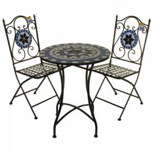 SEGAL102 - Set Masa si scaune pliante Mozaic gradina, terasa, balcon - Albastru