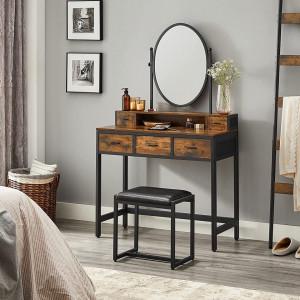 SEM231 - Set Masa toaleta, 90 cm, cosmetica machiaj cu oglinda, masuta vanity cu scaun tapitat - Maro stil industrial
