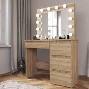 SEM505 - Set Masa toaleta cosmetica machiaj oglinda masuta vanity, oglinda cu LED-uri cu sau fara scaun - Maro