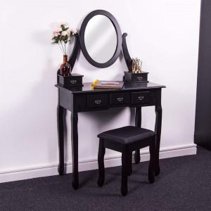 SEN123 - Set Masa Neagra toaleta cosmetica machiaj oglinda masuta vanity, scaun tapitat