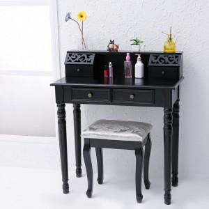 SEN13 - Masuta neagra de toaleta cu Scaun, cosmetica, masa vanity machiaj