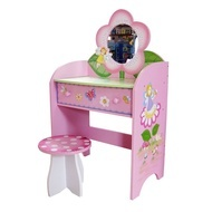 SERC101 - Set masuta, scaunel, oglinda - roz, MDF masa, vanity