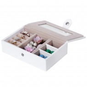 CJA202 - Cutie cutiuta bijuterii, depozitare ceasuri, imitatie piele - Alb