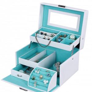 CJA203 - Cutie cutiuta bijuterii cu oglinda, depozitare ceasuri, imitatie piele - Alb