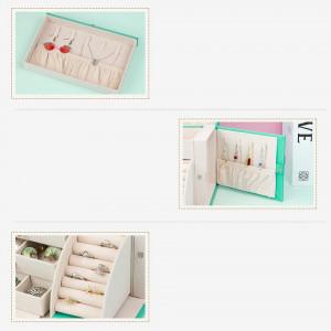CJV1 - Cutie, cutiuta, caseta bijuterii cu oglinda, depozitare, imitatie piele - Verde