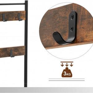 CUII204 - Cuier industrial 70 cm, 9 agatatori haine, chei, hol, rafturi pantofi, pantofar - Maro