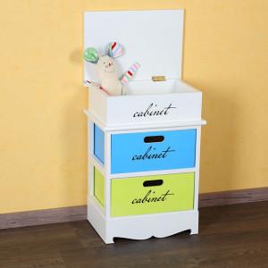 NOA10 - Set 2x Noptiere albe, comoda colorata cu 2 sertare - Copii