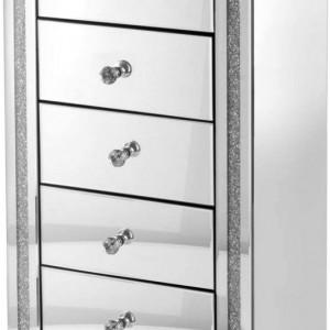 NOOG202 - Noptiera oglinda inalta, pentru dormitor cu 5 sertare - Argintiu