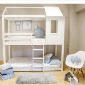 PAAC601 - Pat supraetajat casuta cu scara si bara protectie pentru 2 persoane, dormitor copii - 90 x 200 cm - Alb