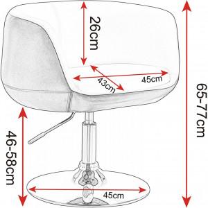 SCA214 - Scaun tapitat Alb si Maro pentru masa toaleta, birou, bar, lounge, imitatie de piele, inaltime reglabila