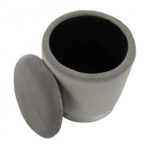 SCAG601 - Scaun tapitat, masa toaleta, taburet machiaj - Argintiu-Gri