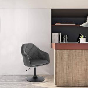 SCN204 - Scaun tapitat Gri catifelat pentru masa toaleta, birou, bar, lounge, inaltime reglabila