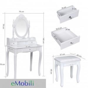 SEA108 - Set masa toaleta Alba + oglinda + scaunel, taburet