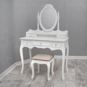 SEA154 - Set Masa alba toaleta cosmetica machiaj oglinda masuta vanity, scaunel, taburet tapitat