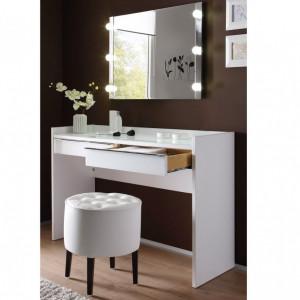 SEA227 - Set Masa alba toaleta moderna cosmetica machiaj oglinda cu lumini masuta vanity scaun taburet tapitat