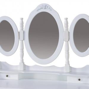 SEA231 - Set Masa alba toaleta cosmetica machiaj oglinda masuta makeup, scaunel taburet tapitat