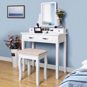 SEA235 - Set Masa alba toaleta cosmetica machiaj oglinda masuta makeup, scaun scaunel taburet tapitat
