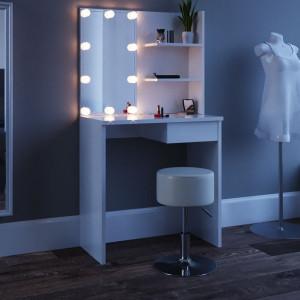 SEA253 - Set Masa alba toaleta cosmetica machiaj oglinda masuta vanity, oglinda cu LED-uri