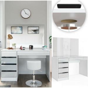 SEA352 - Set Masa toaleta, 120 cm, masuta vanity cu incarcarcare Qi, moderna cosmetica machiaj oglinda cu sau fara LED, cu sau fara scaun- Alb Lucios