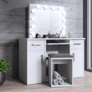 SEA507 - Set Masa toaleta cosmetica 120 cm machiaj oglinda masuta vanity, oglinda cu LED-uri - Alb sau Maro