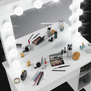 SEA532 - Set Masa toaleta, 80 cm, cosmetica machiaj, masuta vanity, oglinda cu LED-uri - Alb