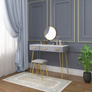 SEG205 - Set Masa toaleta, 100 cm, cosmetica machiaj cu oglinda si scaun, masuta vanity - Gri