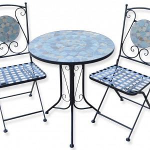 SEGG106 - Set Masa si 2 scaune pliante Mozaic gradina, terasa, balcon - Gri