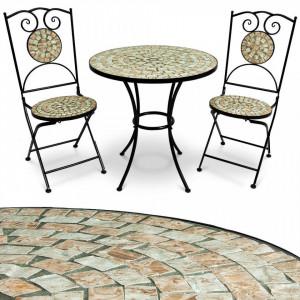SEGM212 - Set Masa si scaune pliante Mozaic gradina, terasa, balcon - Teracota