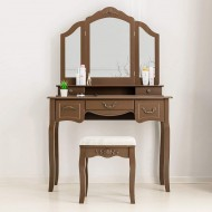 SEM106 - Set Masa toaleta cosmetica 100 cm machiaj masuta vanity, oglinda tripla - Maro, Alb sau Negru