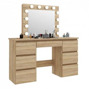 SEM507 - Set Masa toaleta, 120 cm, cosmetica machiaj, masuta vanity, oglinda cu LED-uri - Sonoma