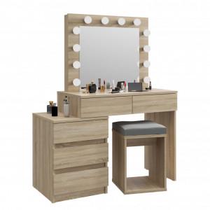 SEM509 - Set Masa toaleta, 112 cm, cosmetica machiaj oglinda masuta vanity, oglinda cu LED-uri cu sau fara scaun - Sonoma