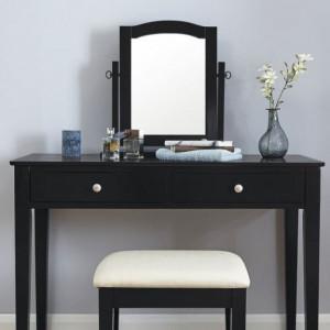 SEN117 - Set Masa Neagra toaleta cosmetica machiaj oglinda masuta, scaun, taburet tapitat