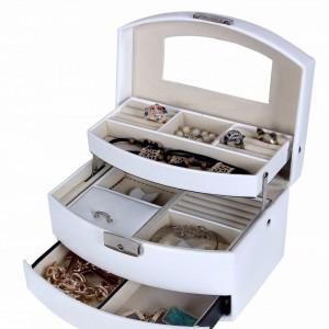 CJA204 - Cutie cutiuta bijuterii cu oglinda, depozitare ceasuri, imitatie piele - Alb