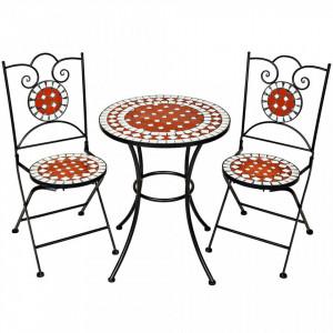 SEGR1 - Set Masa si scaune pliante Mozaic gradina, terasa, balcon - Rosu Alb si Negru