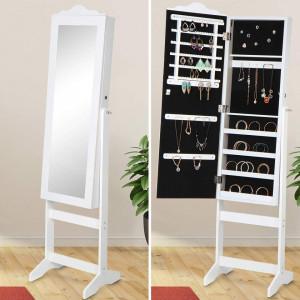 OGA10 - Oglinda caseta de bijuterii, dulap, dulapior cu picioare dormitor, dressing - Alb