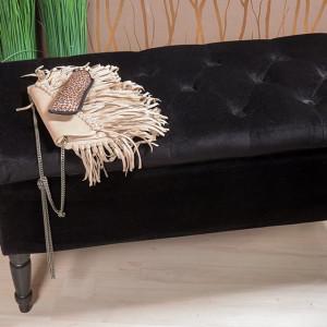 BAN229 - Bancuta 80 cm, bancheta cu lada depozitare, banca living, dormitor, hol - Neagra