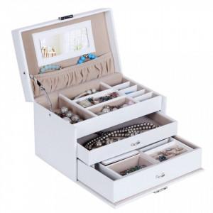 CJA205 - Cutie cutiuta, caseta bijuterii cu oglinda, depozitare, imitatie piele - Alb