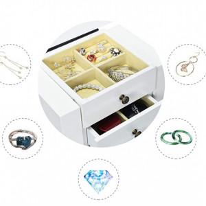 CJA208 - Cutie, caseta bijuterii inata cu oglinda, depozitare - Alb
