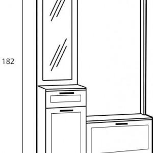 CUI502 - Cuier Alb sau Maro, 5 agatatori haine din metal, hol, pantofar cu oglinda