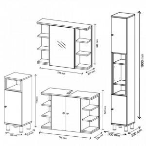LILI201 - Mobilier Baie LILI: masca chiuveta, dulap oglinda, comoda ingusta, dulap inalt - Alb