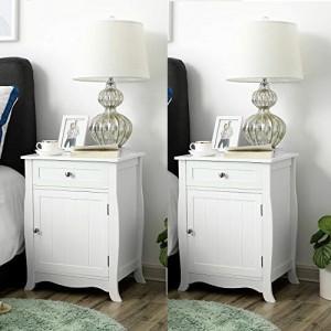 NOA15 - Set 2 Noptiere albe cu 1 sertar si 1 dulap pentru dormitor
