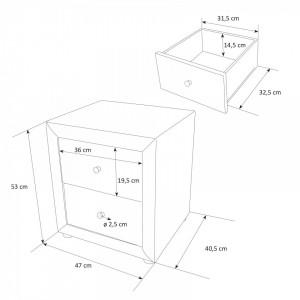 NON203 - Set 2 Noptiere negre capitonate cu 2 sertare pentru dormitor