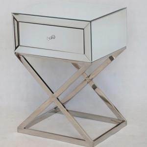 NOOG504 - Noptiera oglinda 50 cm, cu 1 sertar, dormitor - Oglinda - Argintiu