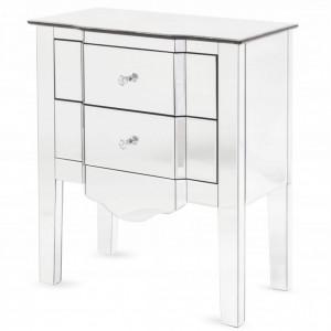 NOOG510 - Noptiera oglinda 60 cm, cu 2 sertare, dormitor - Oglinda - Argintiu