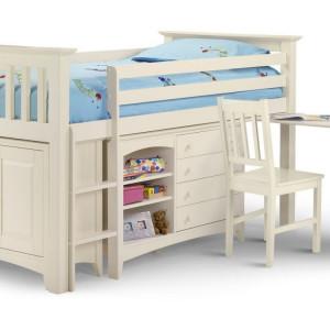 PAAC102 - Pat alb cu dulap si birou - patut copii