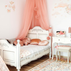 PAAC8 - Pat pentru fetite, dormitor copii - 100 x 180 cm - Alb-Argintiu