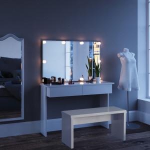 SEA252 - Set Masa alba toaleta moderna, 120 cm, cosmetica machiaj oglinda cu sau fara LED, masuta vanity cu sau fara bancuta/scaun,