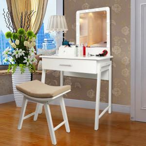 SEA287 - Set Masa toaleta, 80 cm, cosmetica machiaj, oglinda cu LED, masuta vanity, scaun tapitat, comoda make-up - Alb